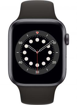Apple Watch Series 6 44mm Space Gray Aluminium Zwarte Sportband Sporthorloge